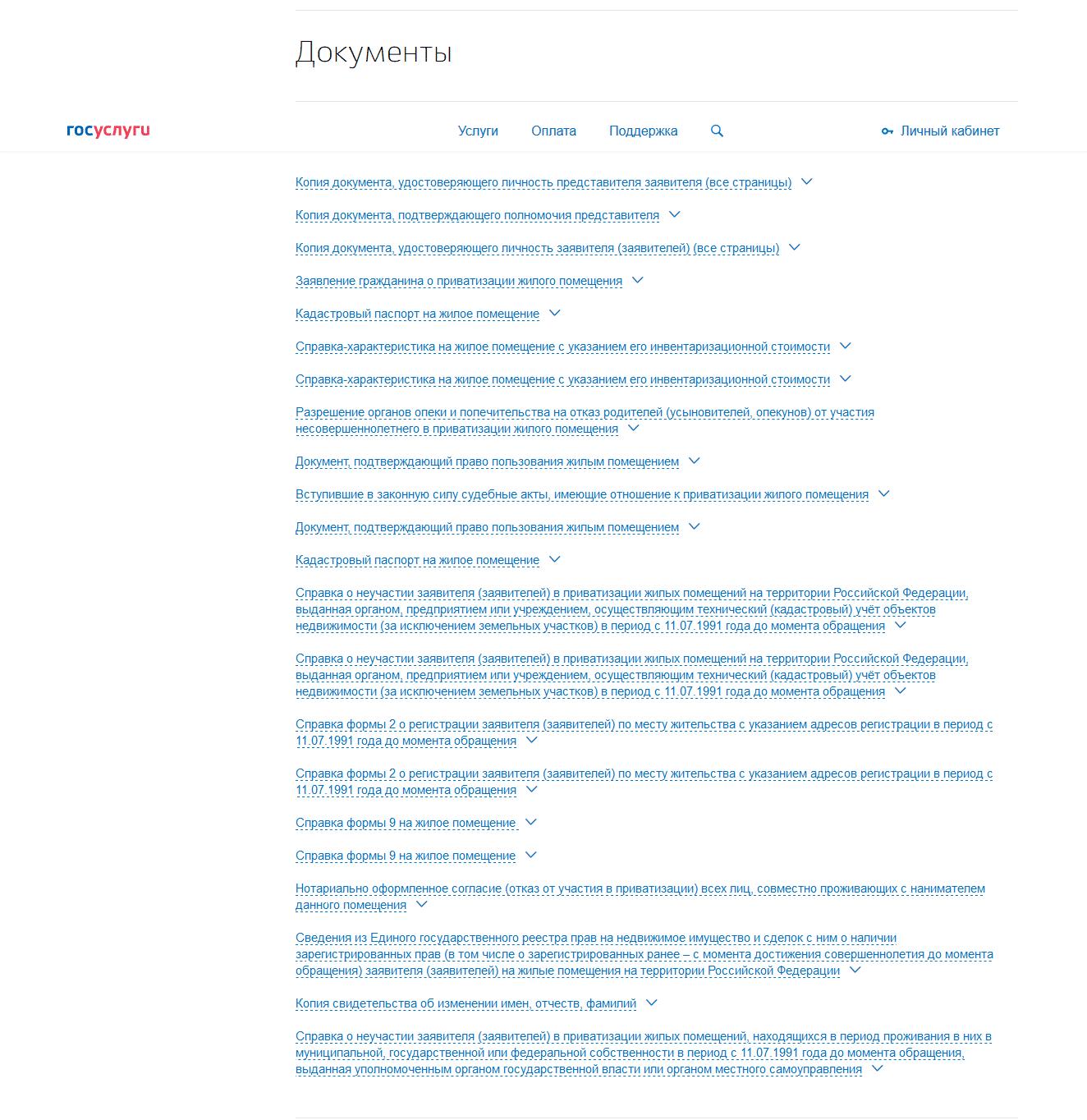 список документов с портала Госуслуги